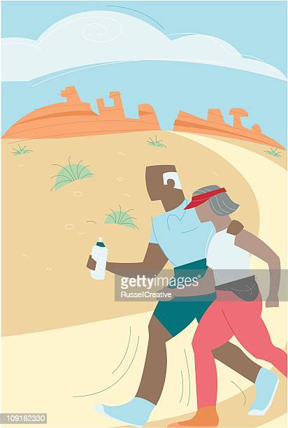 walking in the desert - racewalking stock illustrations, clip art, cartoons, & icons