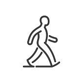 Walking man line icon