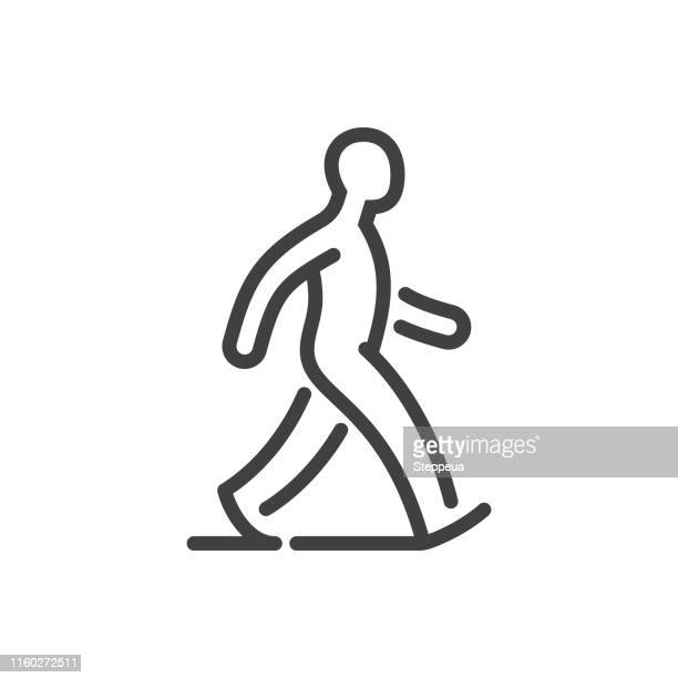 walking man line icon - pedestrian stock illustrations, clip art, cartoons, & icons