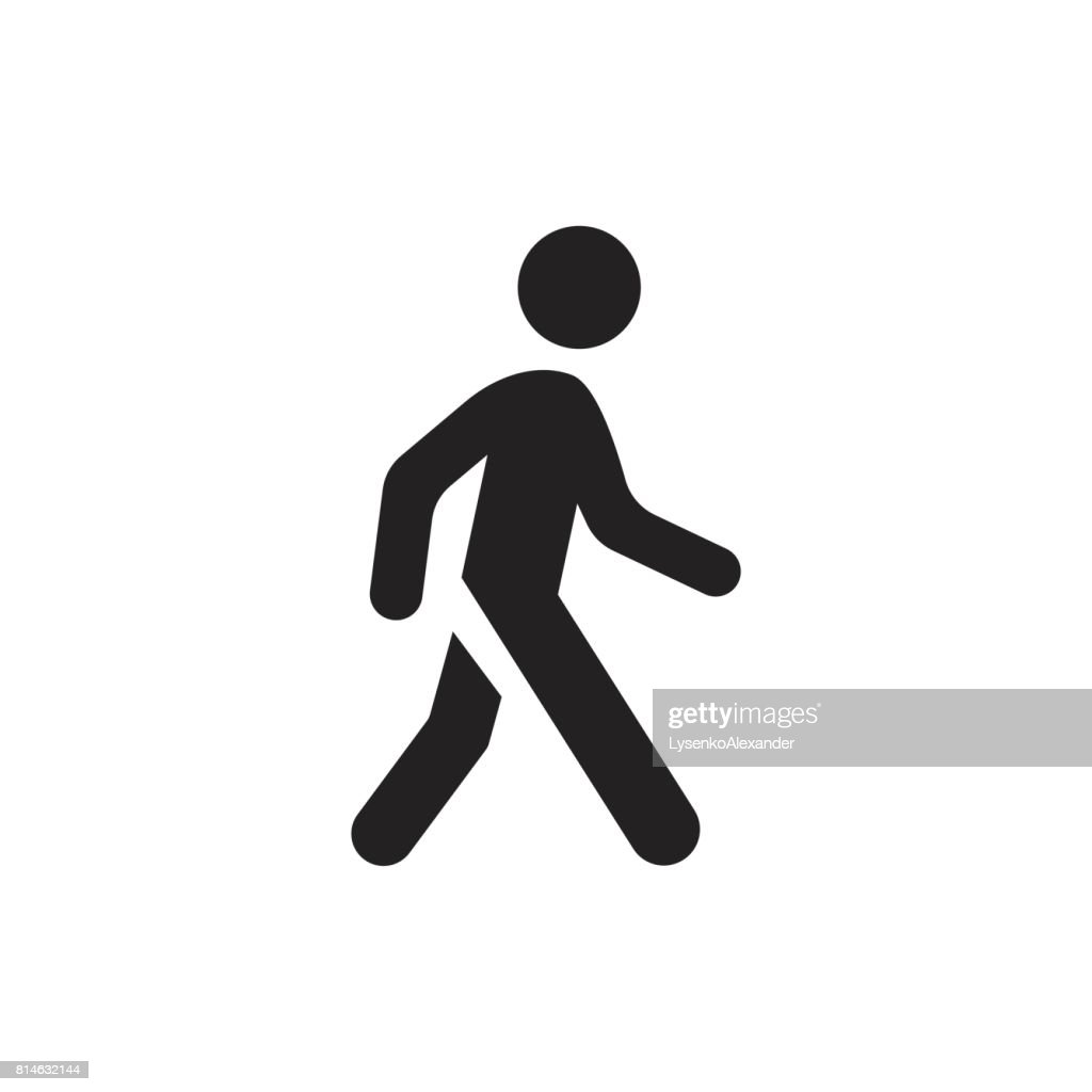 Walking man vector icon. People walk sign illustration.