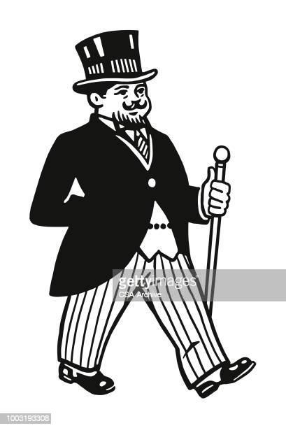 Walking Man Wearing Tuxedo and Top Hat