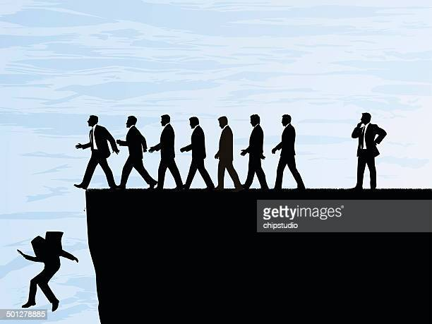 walking over a cliff - stepping stock illustrations, clip art, cartoons, & icons