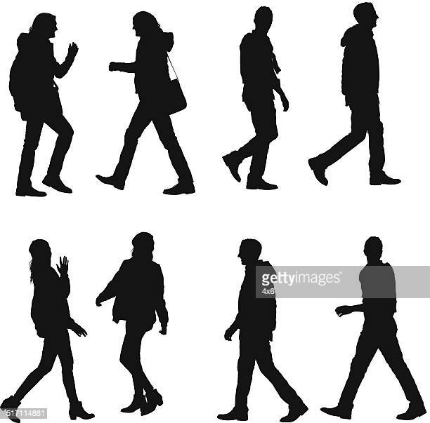 walking people - side view stock illustrations, clip art, cartoons, & icons