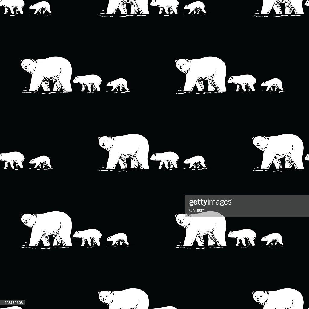 Walking Polar bear Vector Seamless Pattern Black