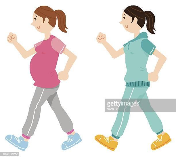 walking pregnant woman