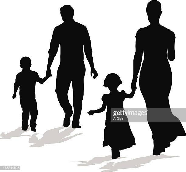Walking Silhouette Family