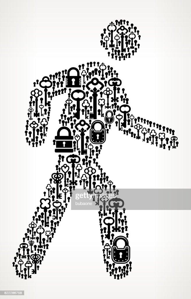 Walking Stick Figure  Antique Keys Black and White Vector Pattern : stock illustration