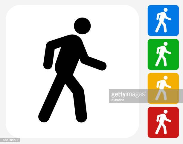 Walking Stick Figure Icon Flat Graphic Design