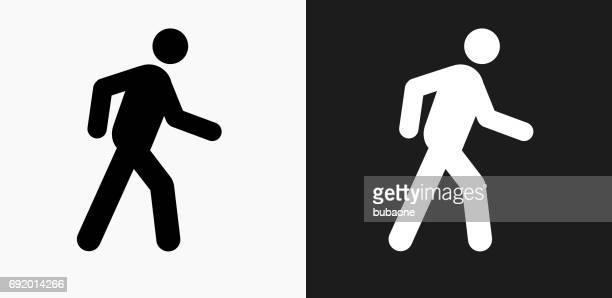 ilustrações, clipart, desenhos animados e ícones de andando stick figura ícone preto e branco vector backgrounds - andando