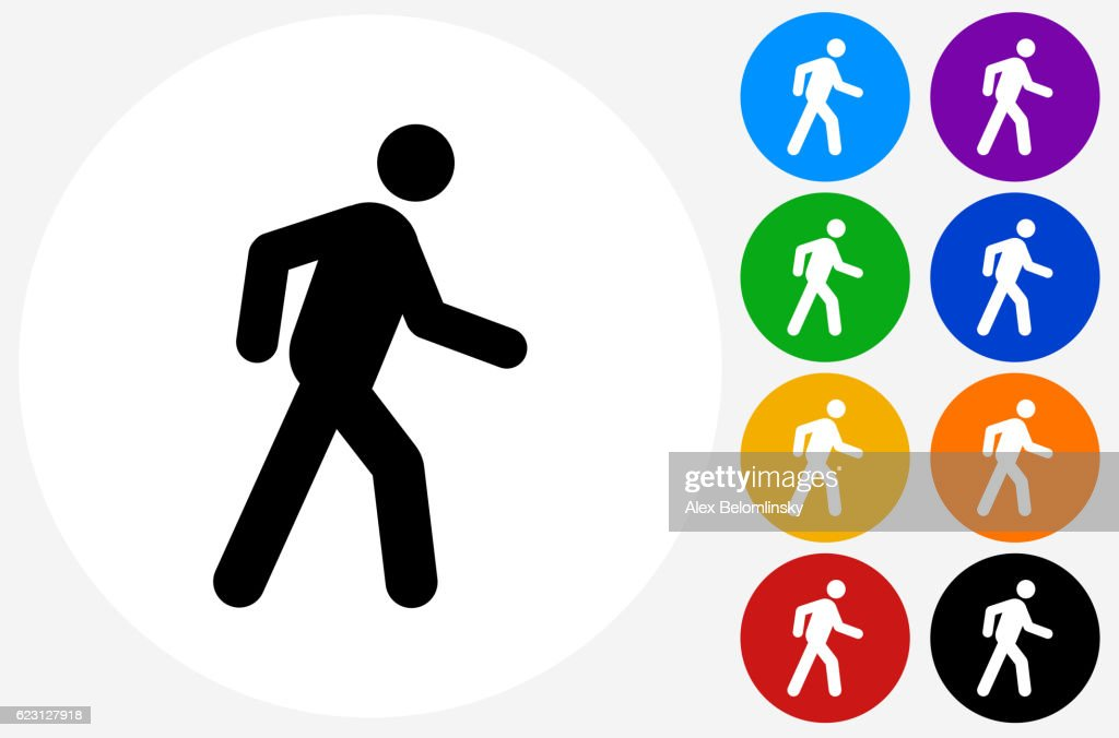 Walking Stick Figure Icon on Flat Color Circle Buttons : Stock-Illustration