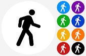 Walking Stick Figure Icon on Flat Color Circle Buttons