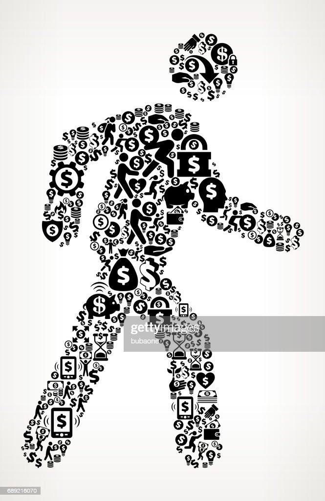 Walking Stick Figure  Money and Finance Black and White Icon Background : Stock Illustration