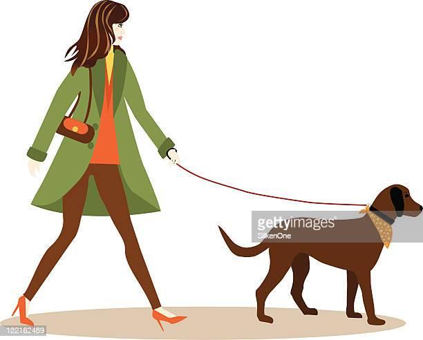 walking the dog - cardigan sweater stock illustrations, clip art, cartoons, & icons