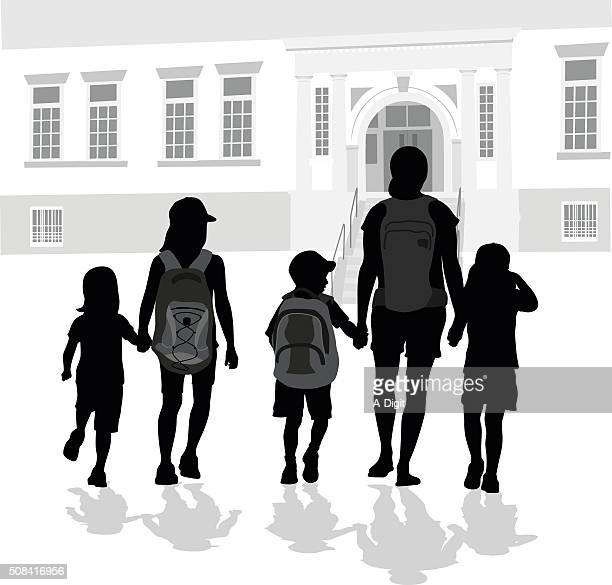 walking to school with mom - 8 9 years stock illustrations, clip art, cartoons, & icons