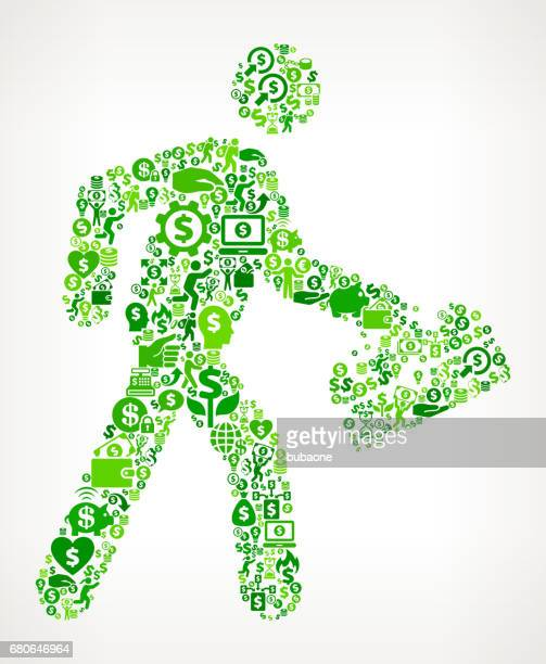 walking & toolbox  money and finance green vector icon background - flipping a coin stock illustrations, clip art, cartoons, & icons