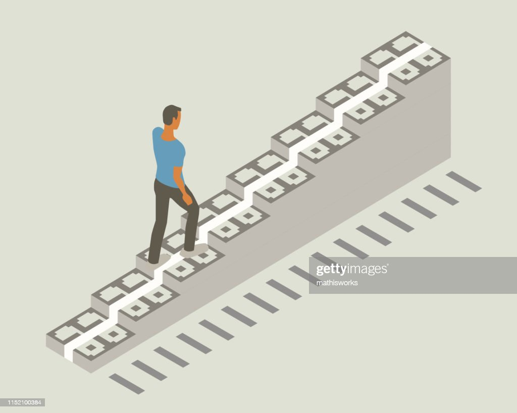Walking up money staircase : stock illustration