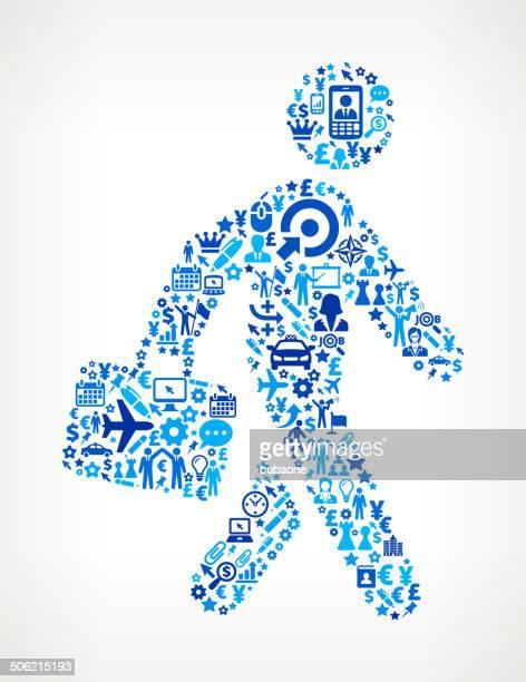 walking mit aktentasche auf business lizenzfreie vektorgrafik-muster - zielgruppe stock-grafiken, -clipart, -cartoons und -symbole