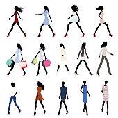 Walking women colored