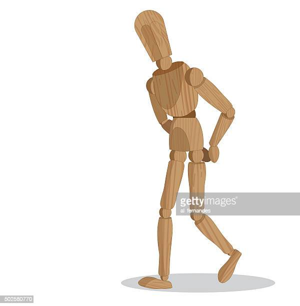 walking wood dummy - mannequin stock illustrations, clip art, cartoons, & icons