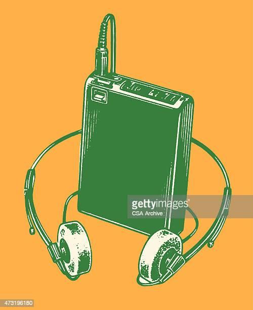 walkman - personal stereo stock illustrations