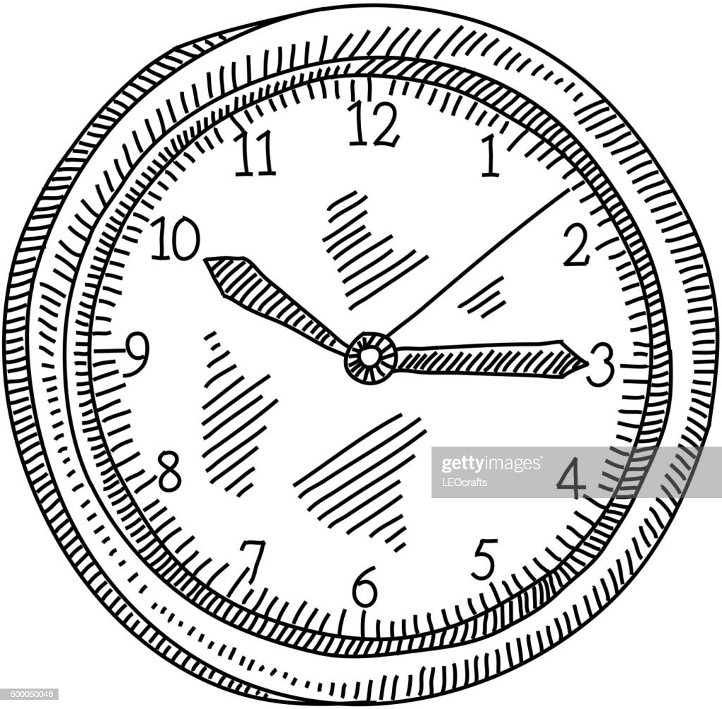 Line Drawing Clock : Wall clock drawing vector art getty images