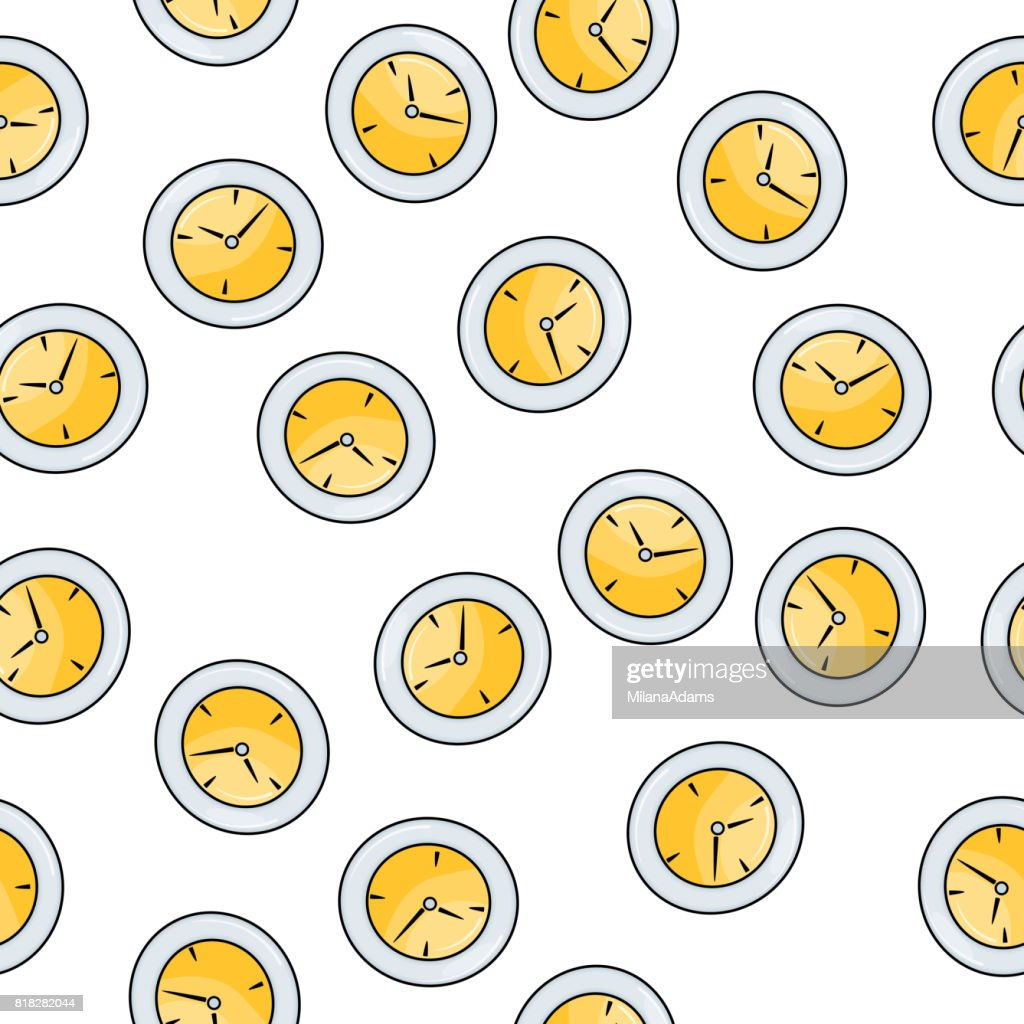 Wall Clock Element Seamless Pattern Hand Draw Doodle Style For ...