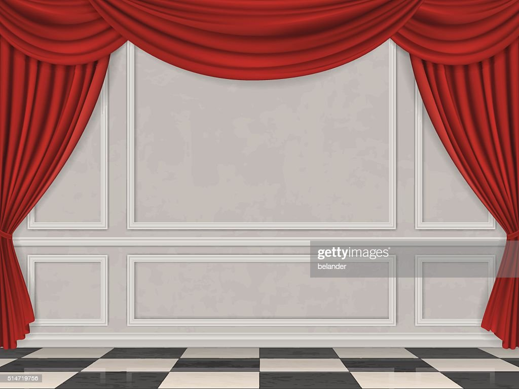 Wall decorated moulding panels checkered floor and red curtain