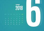 Wall June 2018 Calendar. Vector Template