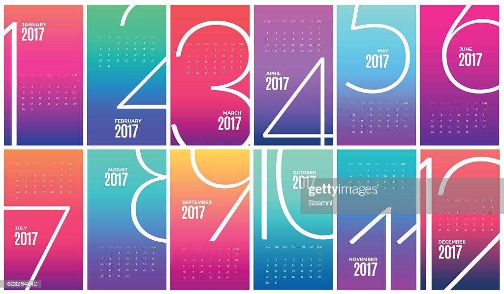 Wall Monthly Calendar 2017. Vector Template