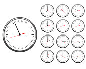 Wall office clock icon set. showing every hours.
