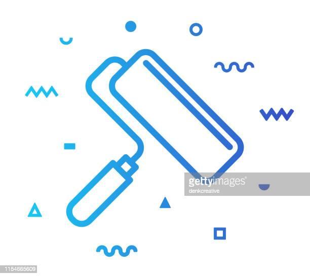 ilustraciones, imágenes clip art, dibujos animados e iconos de stock de pintura de pared estilo de línea icono diseño - pintores de brocha gorda