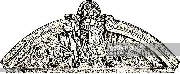 wall sculpture of prometheus - relief carving stock illustrations