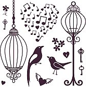 wall stickers birds cages
