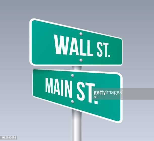 wall street and main street - wall street lower manhattan stock illustrations, clip art, cartoons, & icons