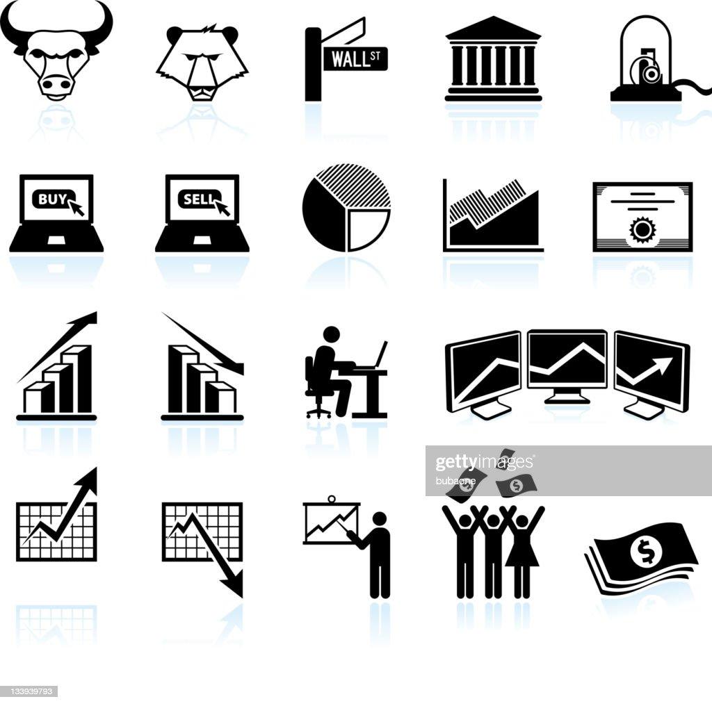 wall street and stock market black & white icon set