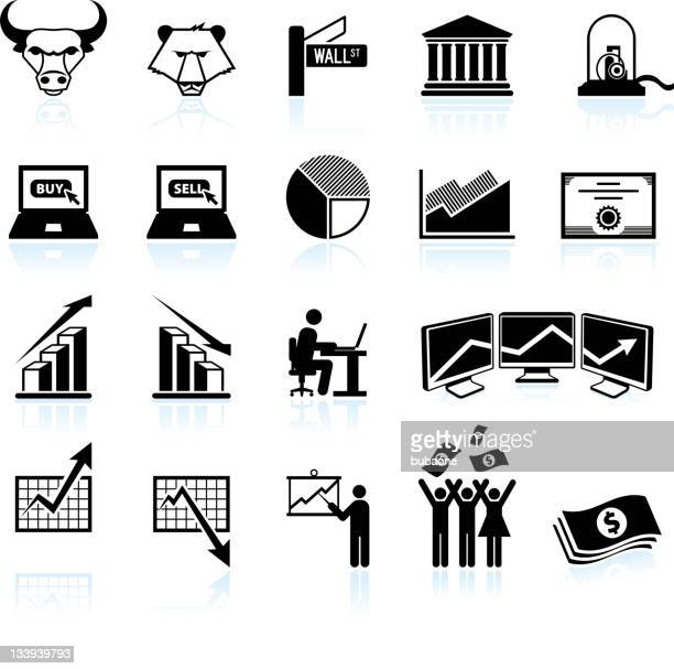 wall street and stock market black & white icon set