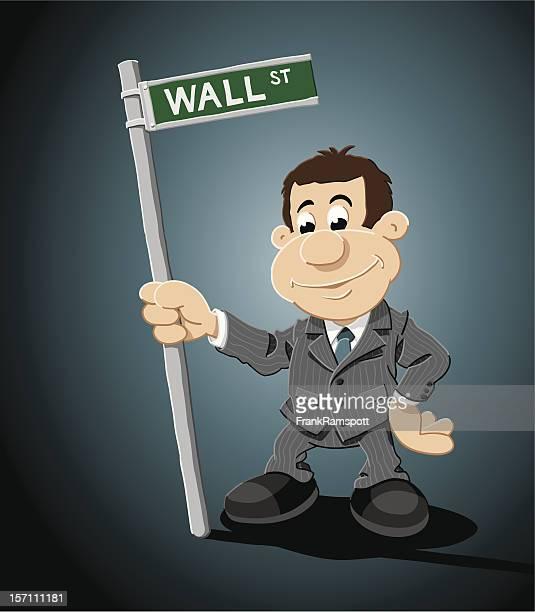 Wall Street Cartoon Businessman Sign