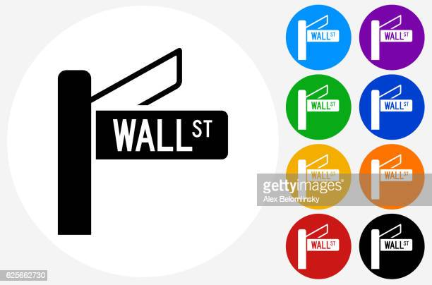 Wall Street Icon on Flat Color Circle Buttons