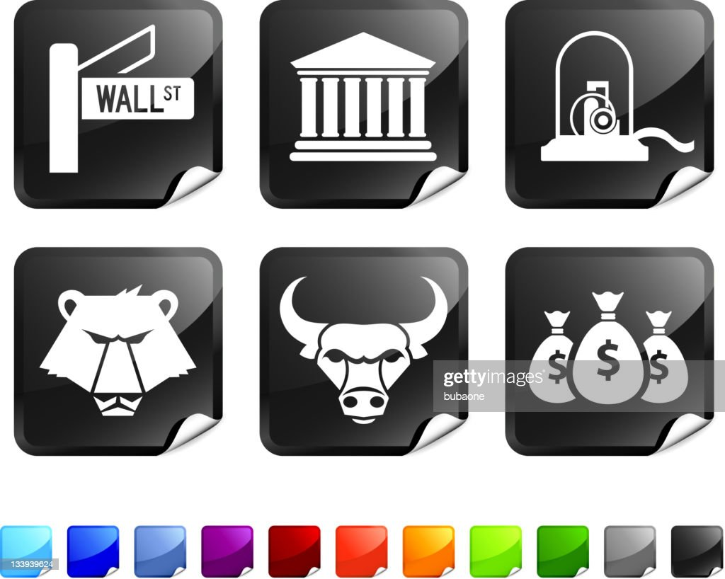 wall street royalty free vector icon set stickers : stock illustration