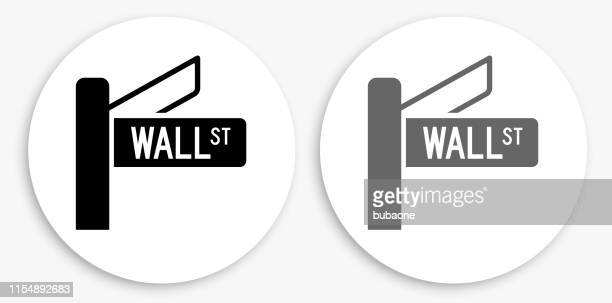 wall street sign black and white round icon - wall street stock illustrations