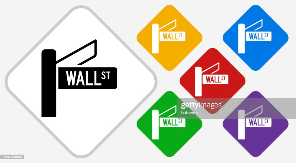 Wall Street Sign Color Diamond Vector Icon : stock illustration