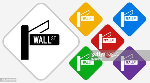 Wall Street Sign Color Diamond Vector Icon
