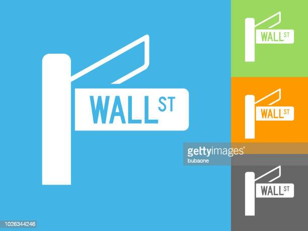 Wall Street Sign  Flat Icon on Blue Background