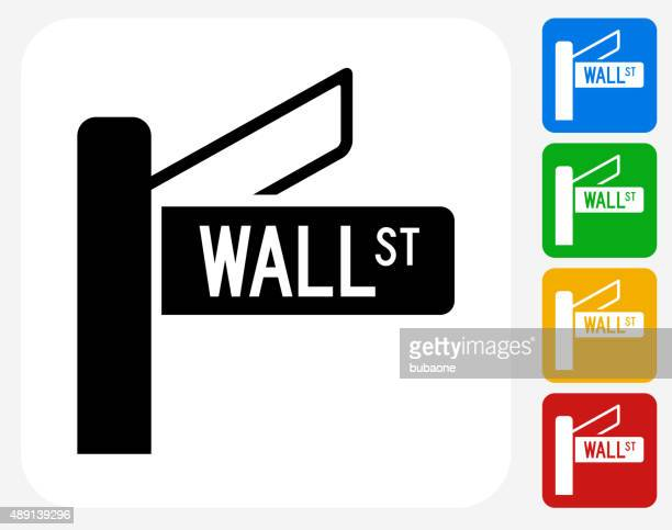 Wall Street Sign Icon Flat Graphic Design
