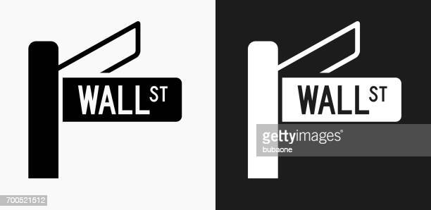 Wall Street Sign Icon on Black and White Vector Backgrounds