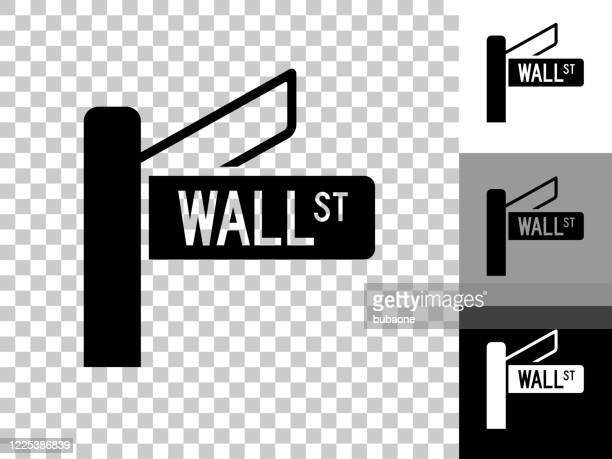 wall street sign icon on checkerboard transparent background - wall street stock illustrations
