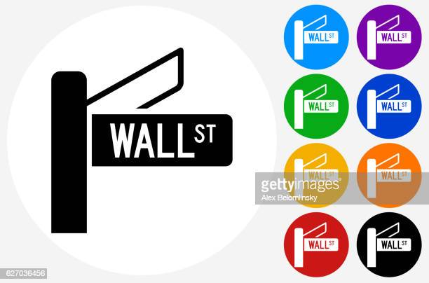 Wall Street Sign Icon on Flat Color Circle Buttons