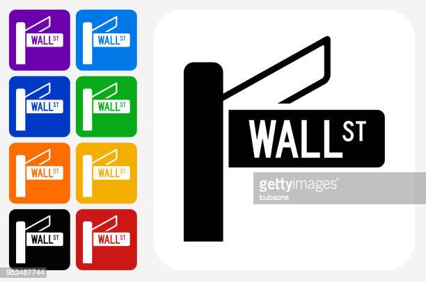 Wall Street Sign Icon Square Button Set