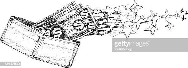 wallet and dollar bills flying away - money to burn stock illustrations, clip art, cartoons, & icons
