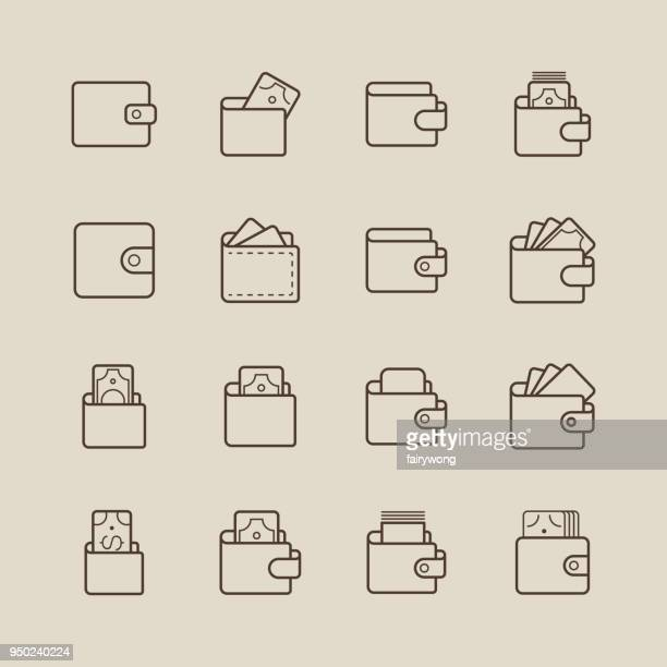 wallet and money icons - wallet stock illustrations